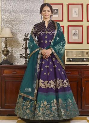 Jacquard Readymade Purple Anarkali Suit