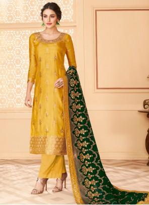 Jacquard Resham Yellow Designer Palazzo Suit