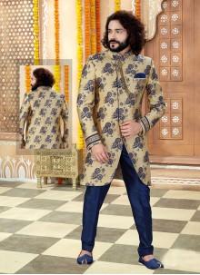 Jacquard Sherwani in Gold