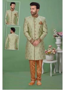 Jacquard Sherwani in Green