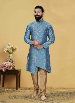 Jacquard Silk Aqua Blue Indo Western