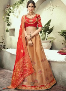 Jacquard Silk Beige and Red Resham Lehenga Choli