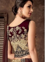 Jacquard Silk Beige Embroidered Lehenga Style Saree
