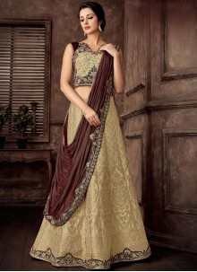Jacquard Silk Beige Embroidered Lehenga Style Saree