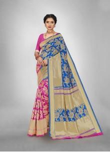 Jacquard Silk Blue and Pink Weaving Saree