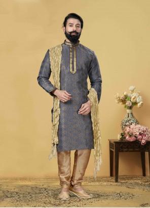 Jacquard Silk Blue Embroidered Kurta Pyjama