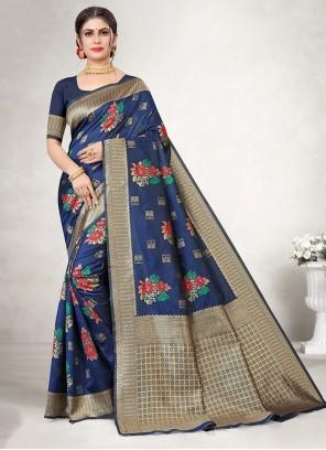 Jacquard Silk Blue Embroidered Saree