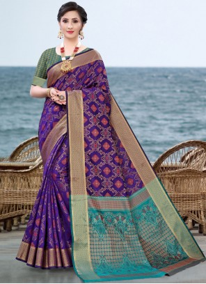 Jacquard Silk Blue Fancy Traditional Saree