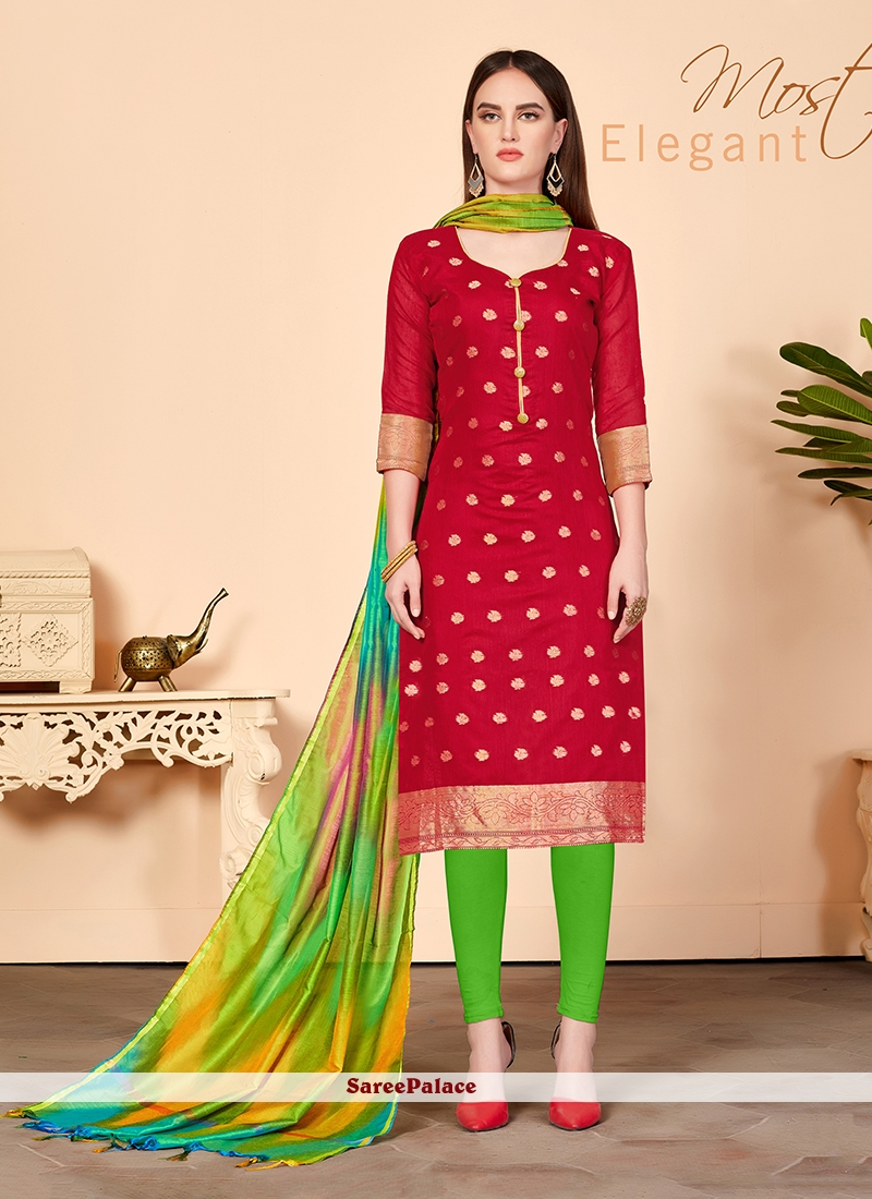267abd9693 Buy Red Jacquard Silk Churidar Salwar Suit Online