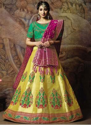 Jacquard Silk Cord Designer Lehenga Choli in Yellow