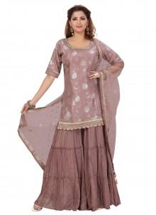 Jacquard Silk Designer Palazzo Salwar Kameez in Lavender