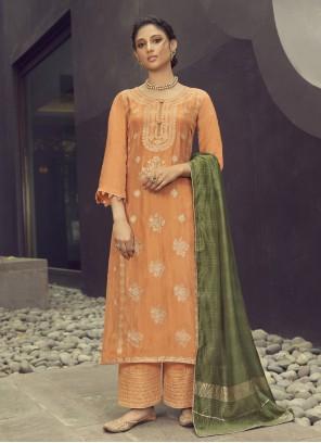 Jacquard Silk Orange Designer Palazzo Suit