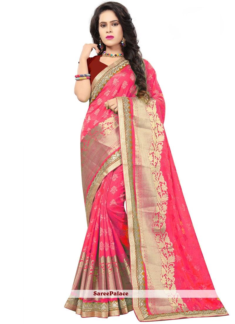 Pink Jacquard Silk Designer Saree