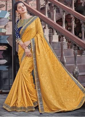 Jacquard Silk Designer Saree in Yellow