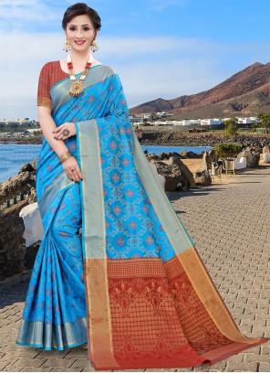 Blue Jacquard Silk Designer Traditional Saree