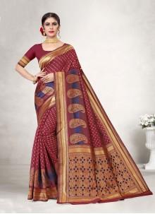 Jacquard Silk Designer Traditional Saree in Maroon
