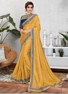 Jacquard Silk Designer Traditional Saree in Yellow