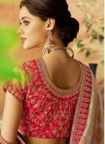 Jacquard Silk Embroidered Beige Lehenga Choli