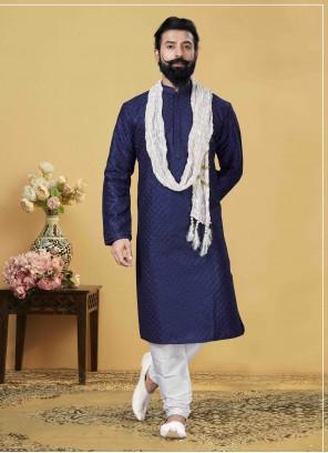 Jacquard Silk Embroidered Blue Kurta Pyjama