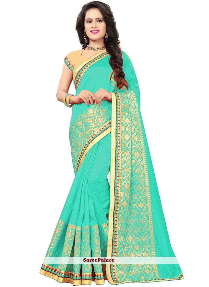 Jacquard Silk Embroidered Designer Traditional Saree in Sea Green