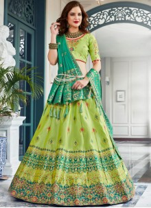 Jacquard Silk Embroidered Green Lehenga Choli