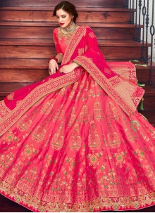 Jacquard Silk Embroidered Hot Pink Lehenga Choli