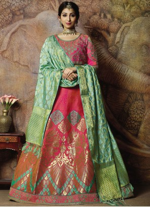 Jacquard Silk Embroidered Hot Pink Trendy Lehenga Choli