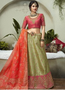 Jacquard Silk Embroidered Lehenga Choli in Green
