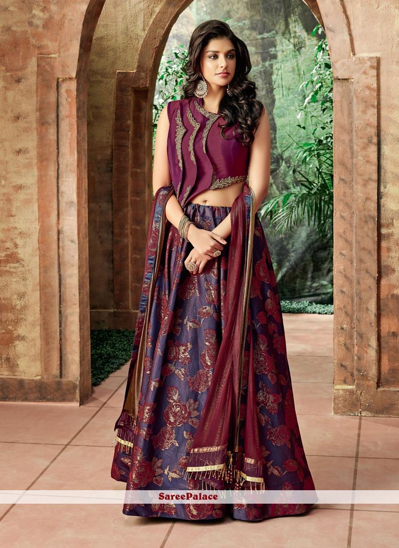 Jacquard Silk Embroidered Purple Lehenga Choli