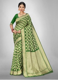 Jacquard Silk Engagement Green Saree