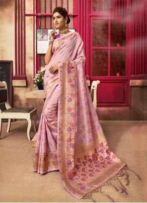 Jacquard Silk Fancy Pink Traditional Designer Saree