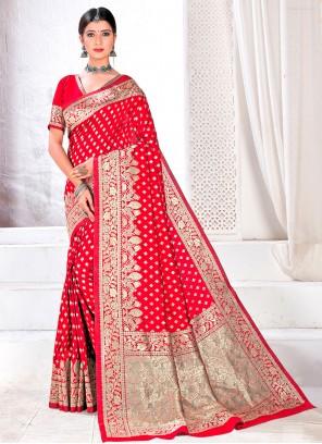Hot Pink Jacquard Silk Festival Designer Traditional Saree