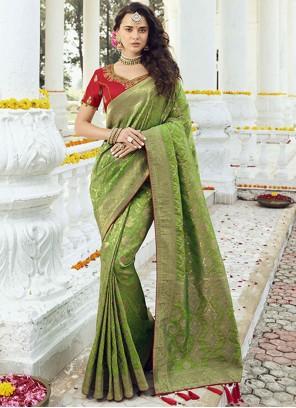 Jacquard Silk Green Resham Designer Traditional Saree