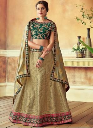 Jacquard Silk Green Resham Lehenga Choli