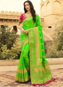 Jacquard Silk Green Silk Saree