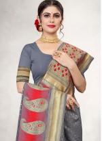 Jacquard Silk Grey Woven Traditional Designer Saree
