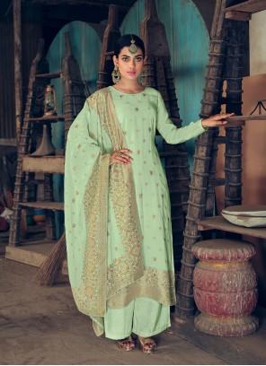 Jacquard Silk Handwork Green Designer Palazzo Salwar Kameez