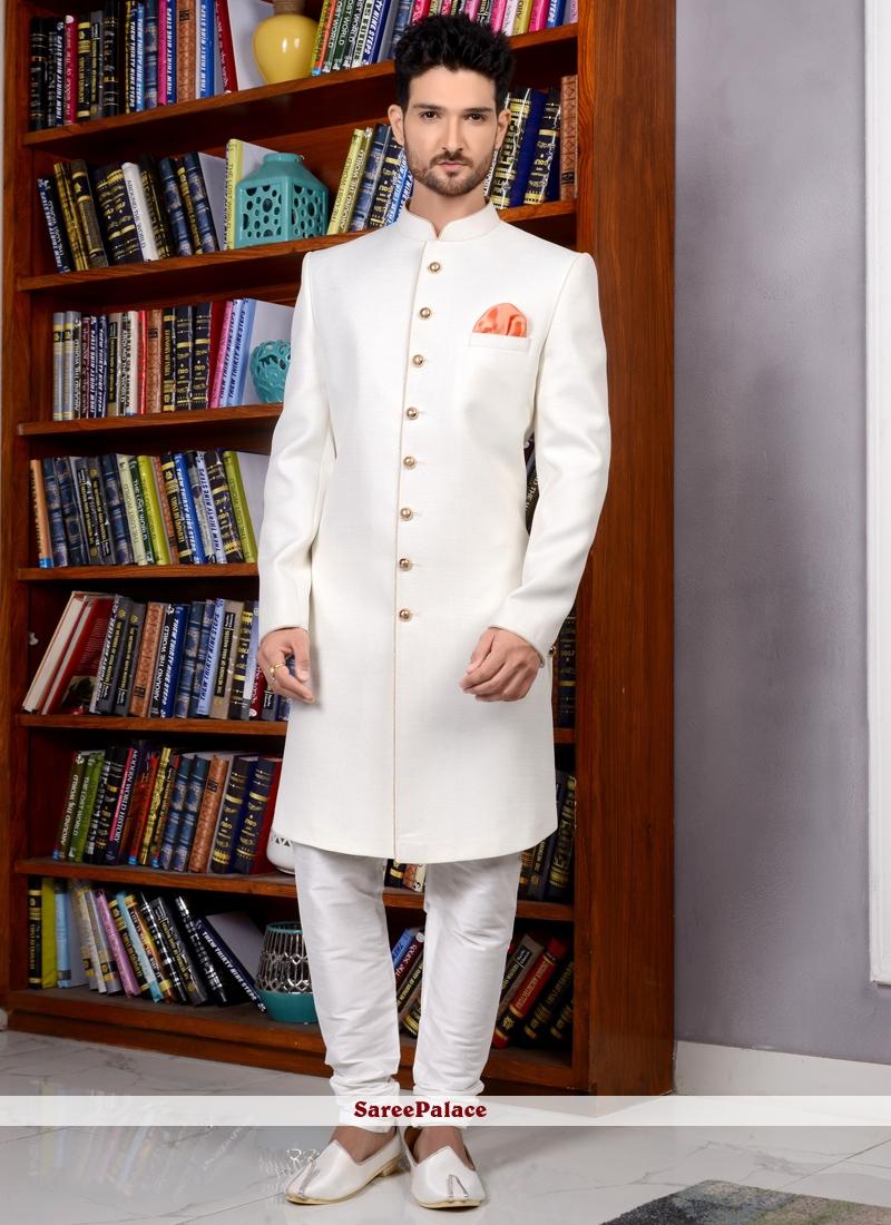 Jacquard Silk Indo Western Sherwani in Off White