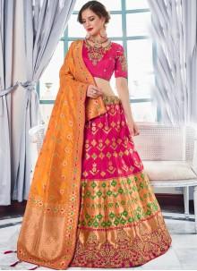Jacquard Silk Lehenga Choli in Hot Pink