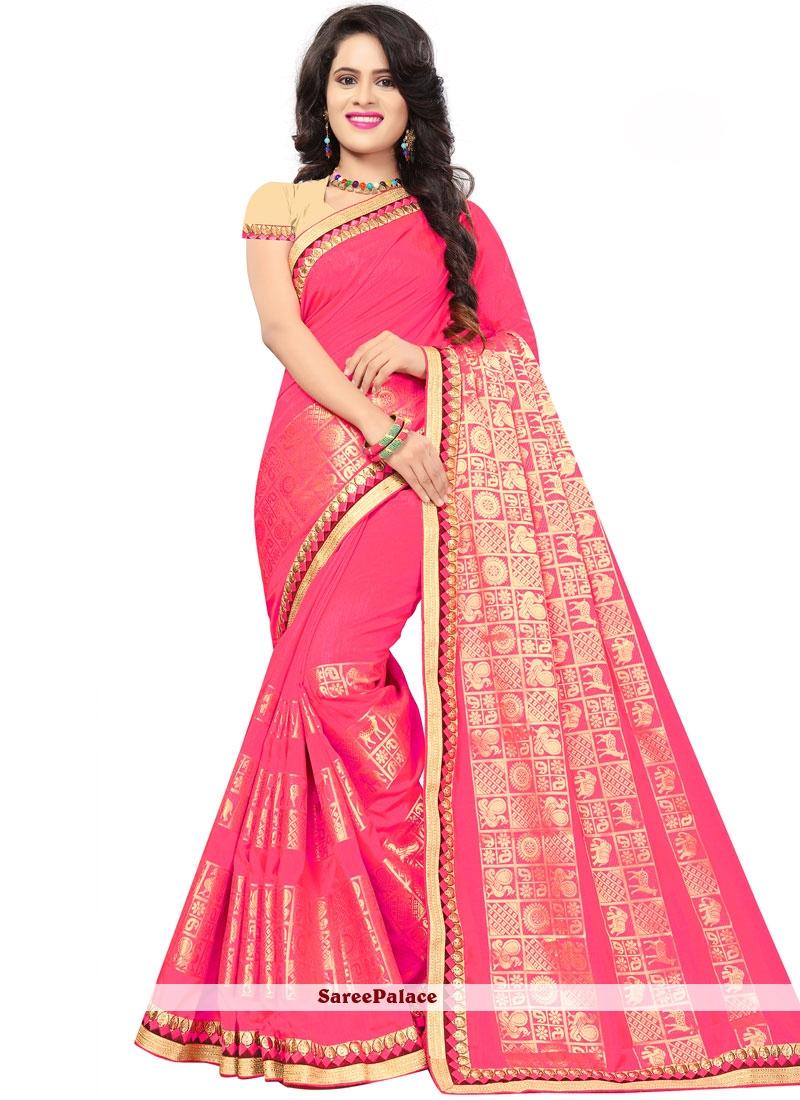 Pink Jacquard Silk Mehndi Classic Saree