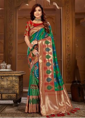 Jacquard Silk Multi Colour Thread Contemporary Saree