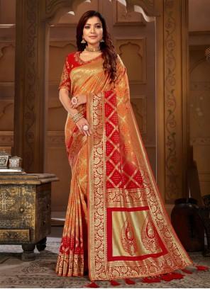Jacquard Silk Orange and Red Designer Traditional Saree