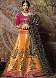 Jacquard Silk Orange Zari Designer Lehenga Choli