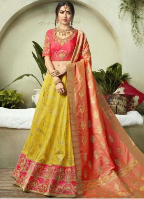 Jacquard Silk Pink and Yellow Resham Lehenga Choli