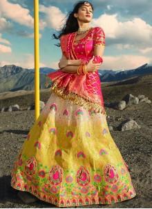 Jacquard Silk Pink and Yellow Zari Lehenga Choli
