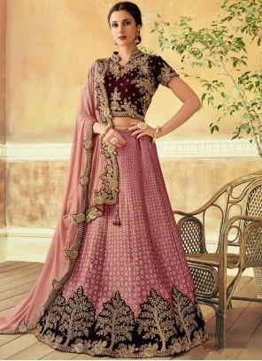 Jacquard Silk Pink Embroidered Lehenga Choli