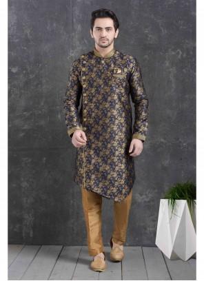Jacquard Silk Printed Indo Western in Blue