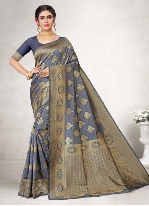 Grey Jacquard Silk Reception Casual Saree