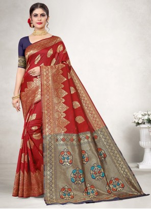 Jacquard Silk Red Classic Saree