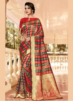 Jacquard Silk Red Designer Traditional Saree